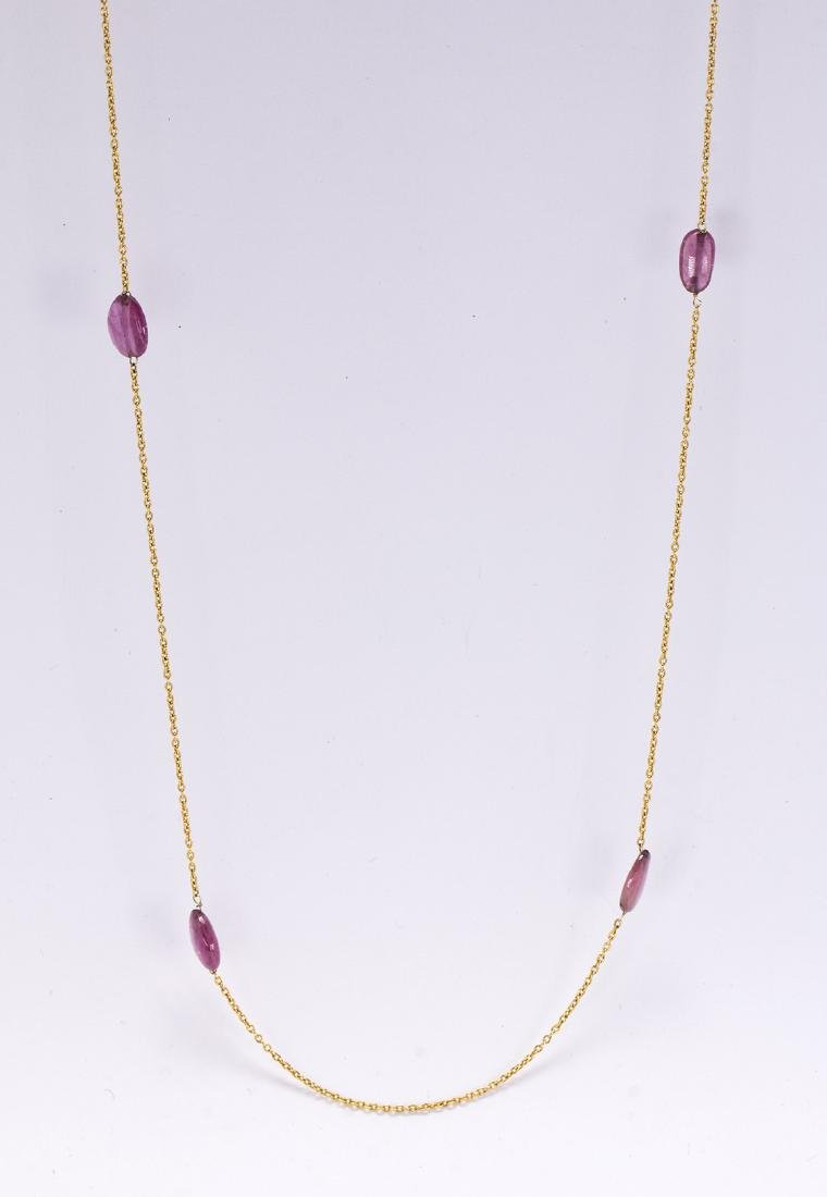 Tourmaline bead and 18k yellow gold necklace