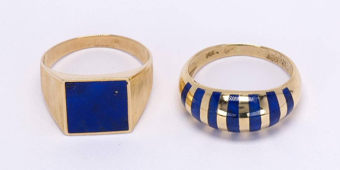 (Lot of 2) Lapis lazuli and 14k yellow gold rings