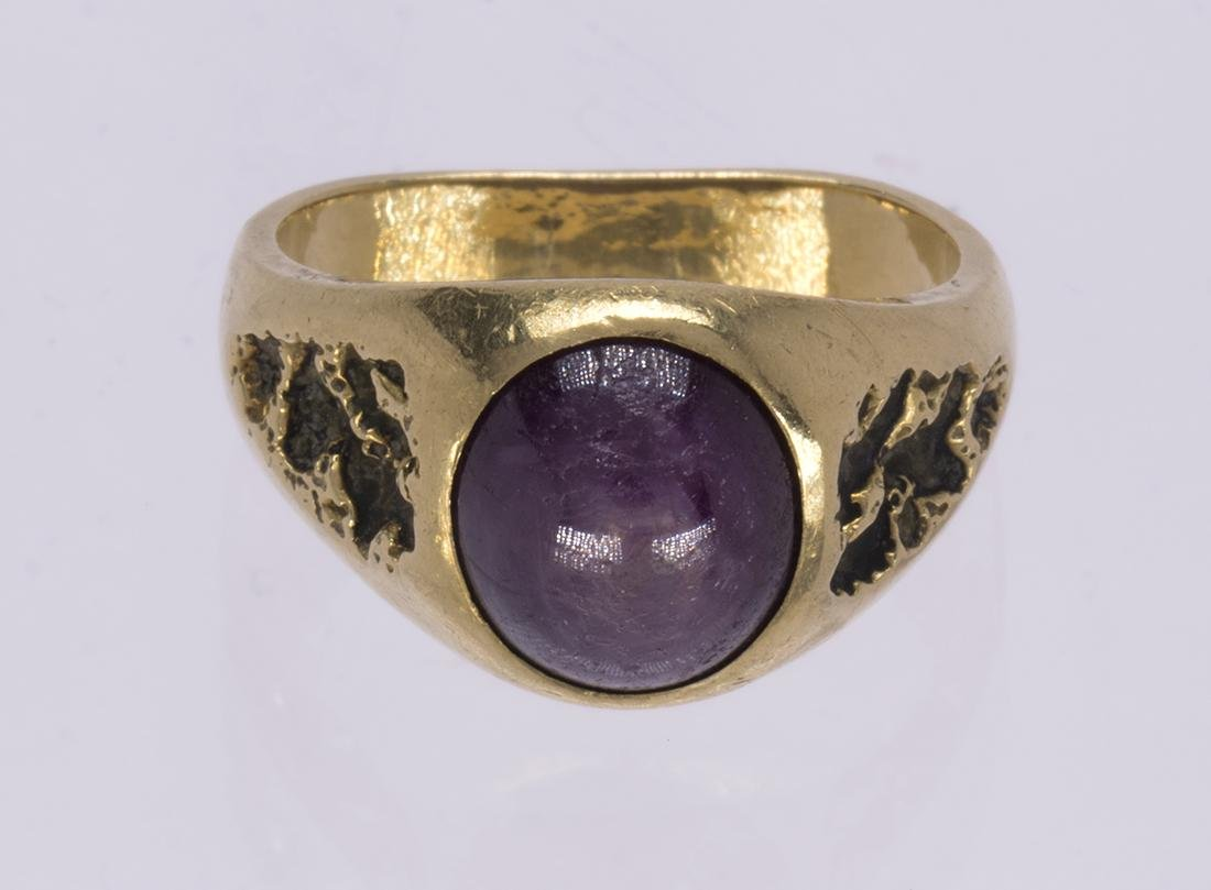 Star ruby, 14k yellow gold ring