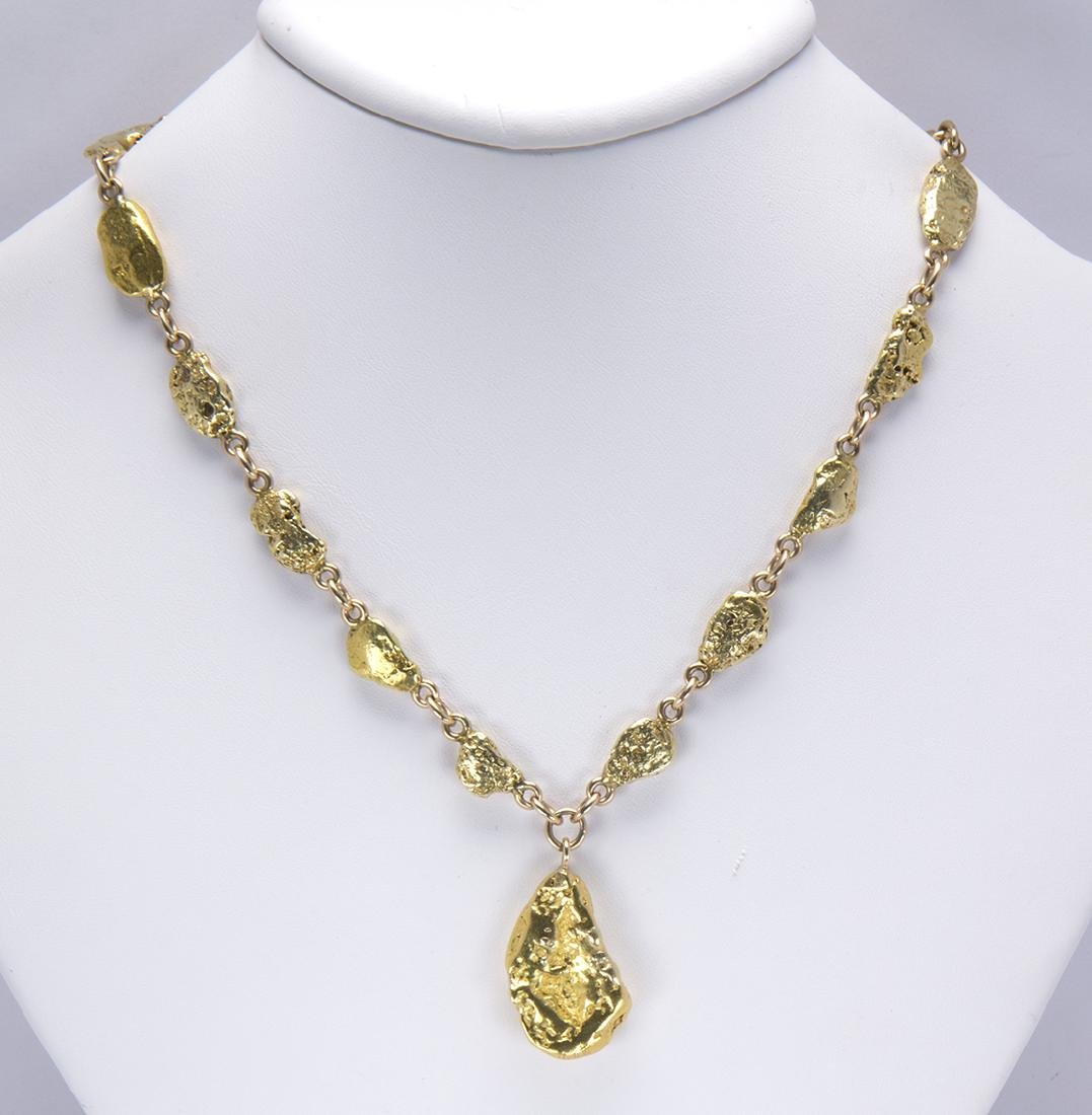 Natural gold nugget and 14k yellow gold necklace