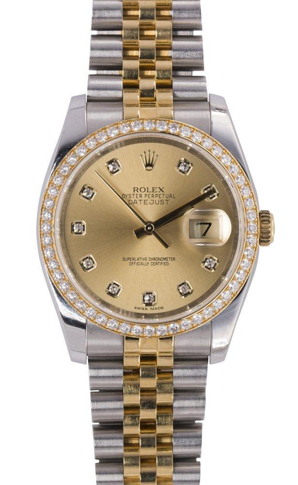 Rolex DateJust diamond, two-tone (Rolesor) wristwatch,