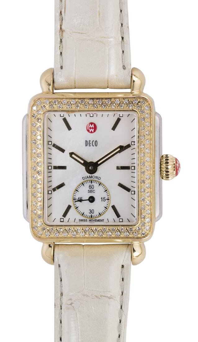 Michele Deco diamond and stainless steel wristwatch