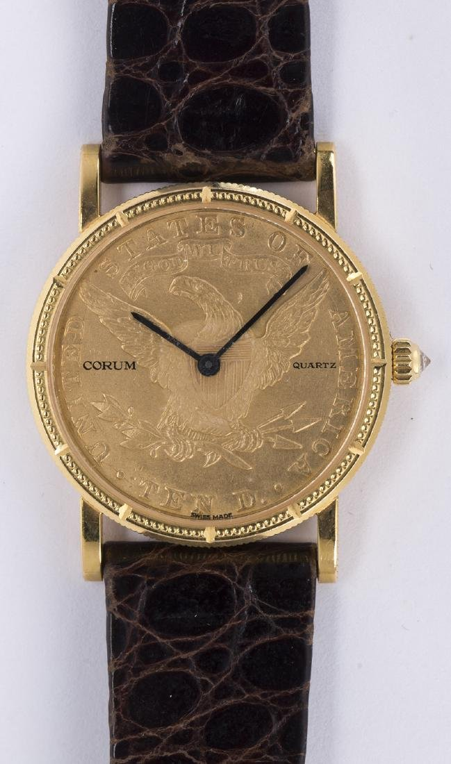 Corum coin form, 18k yellow gold midsize wristwatch