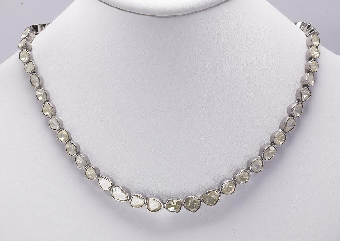 Diamond slice sterling silver necklace
