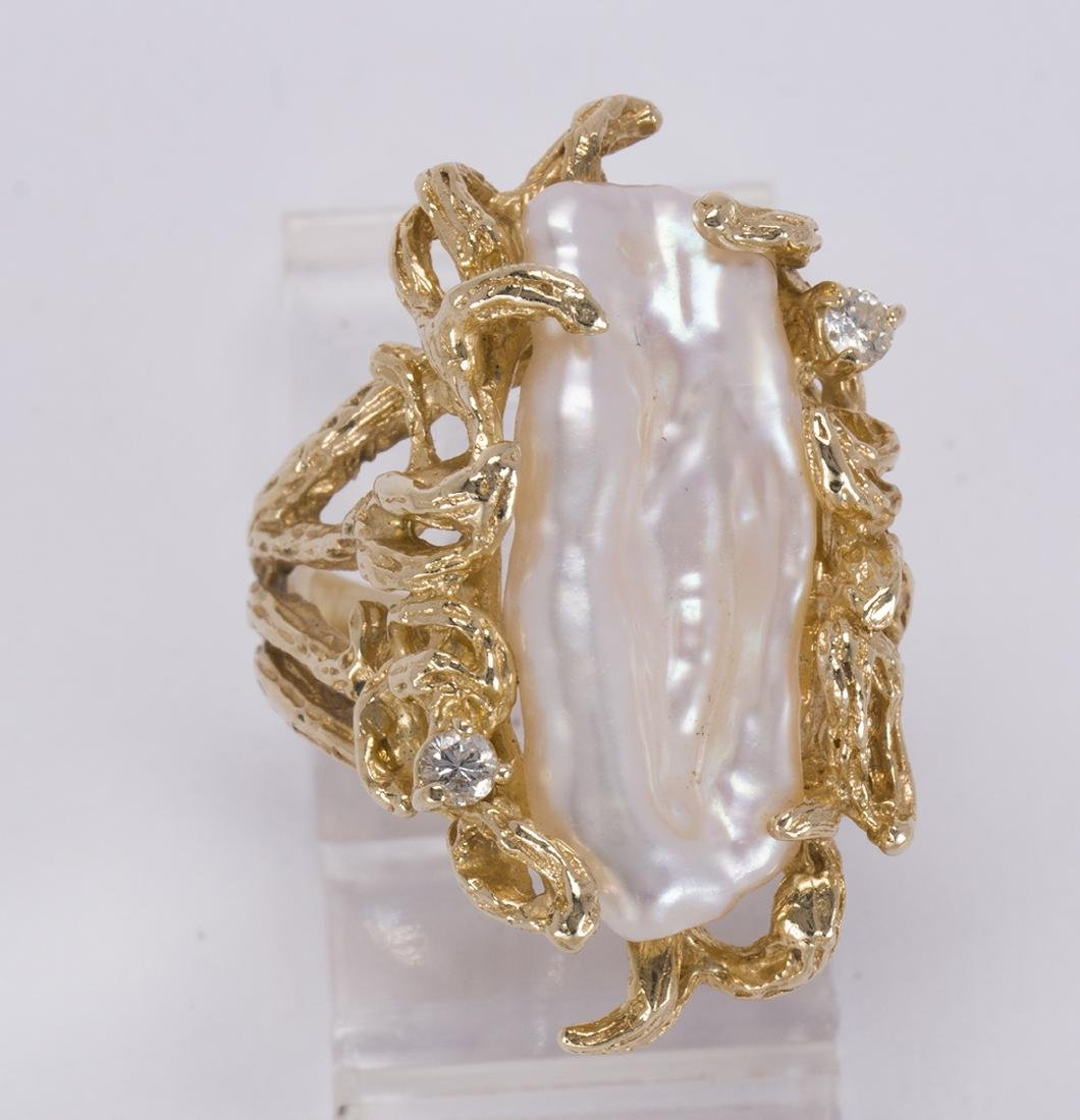 Cultured pearl, diamond and 14k yellow gold ring