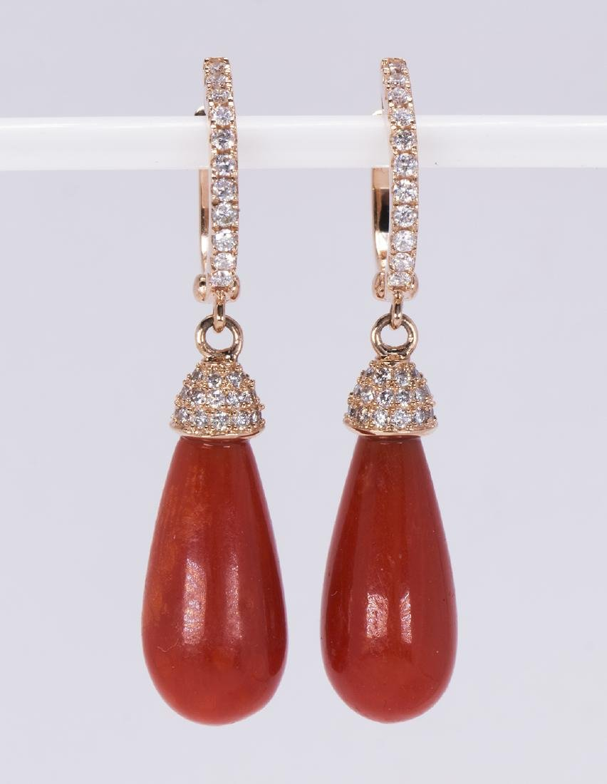 Pair of coral, diamond and 14k rose gold earrings