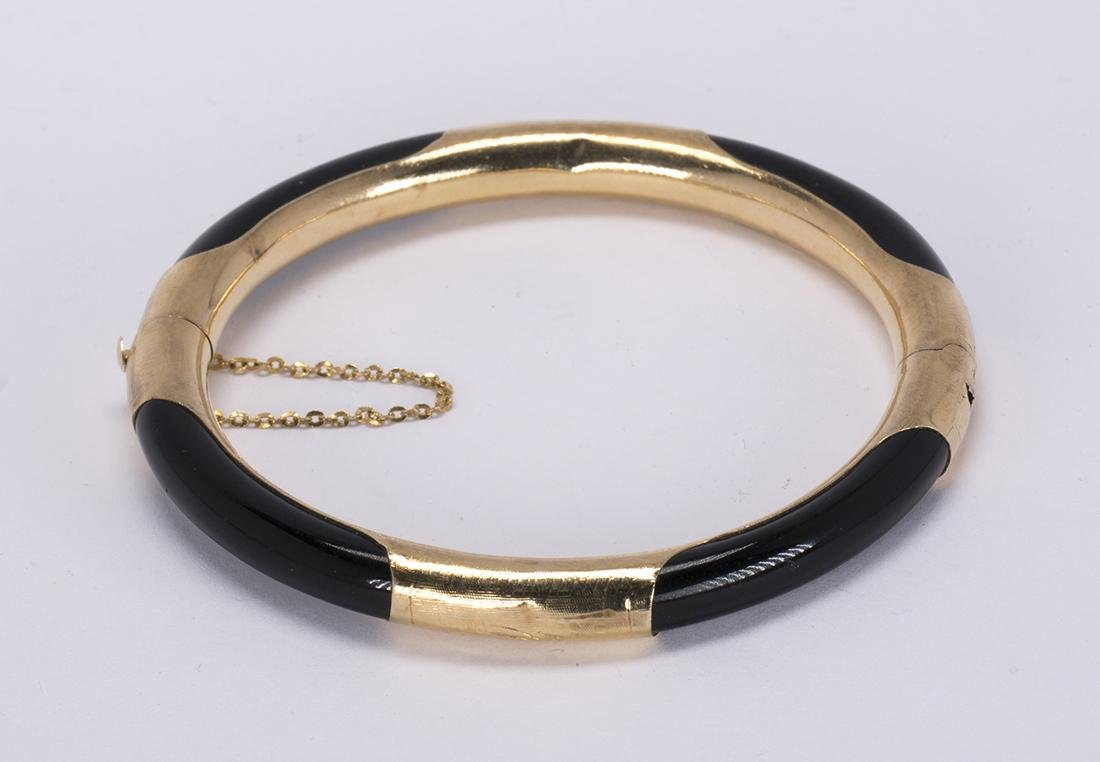 Black coral and 14k yellow gold bracelet