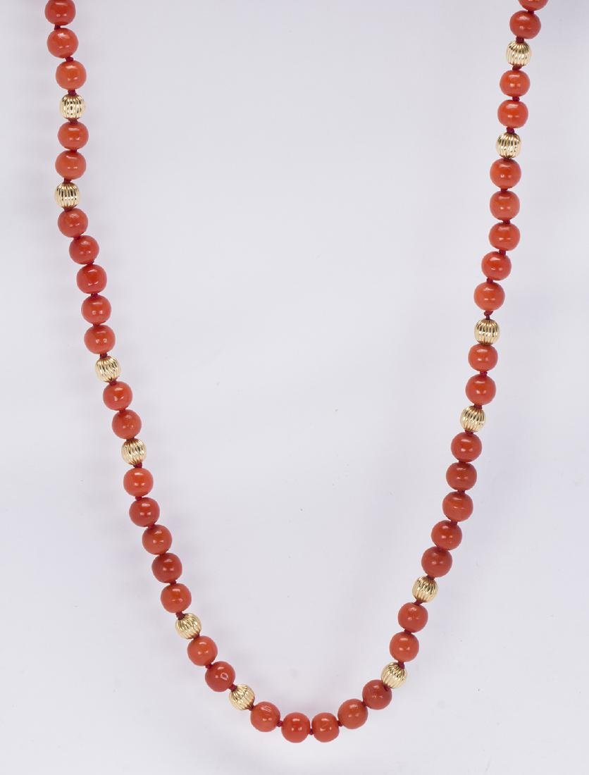 Coral bead and 14k yellow gold necklace