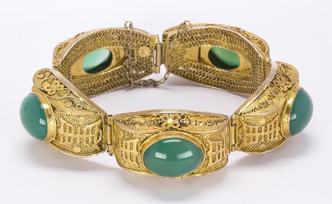 Chrysoprase and silver gilt bracelet