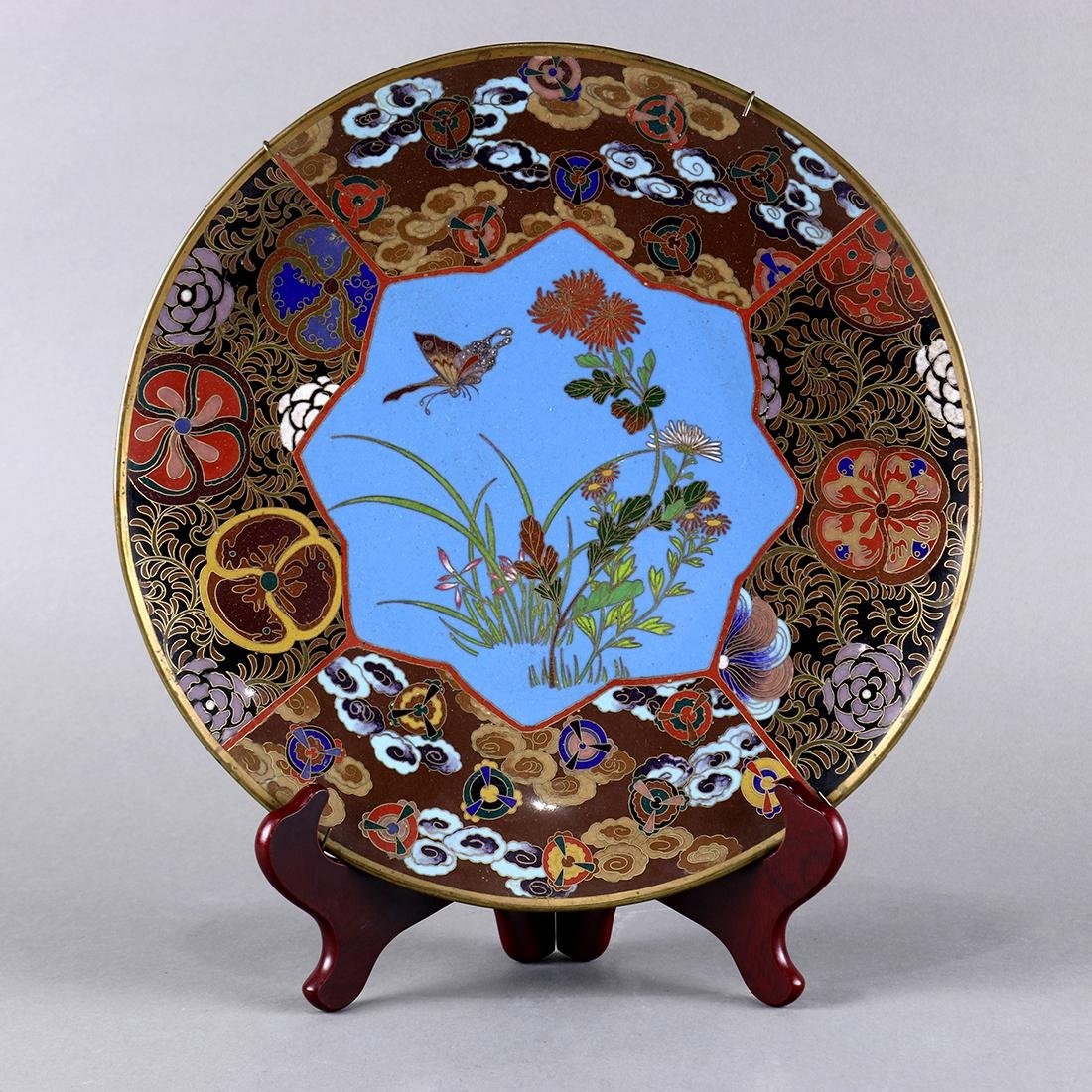 Japanese Cloisonne Plate, Butterfly