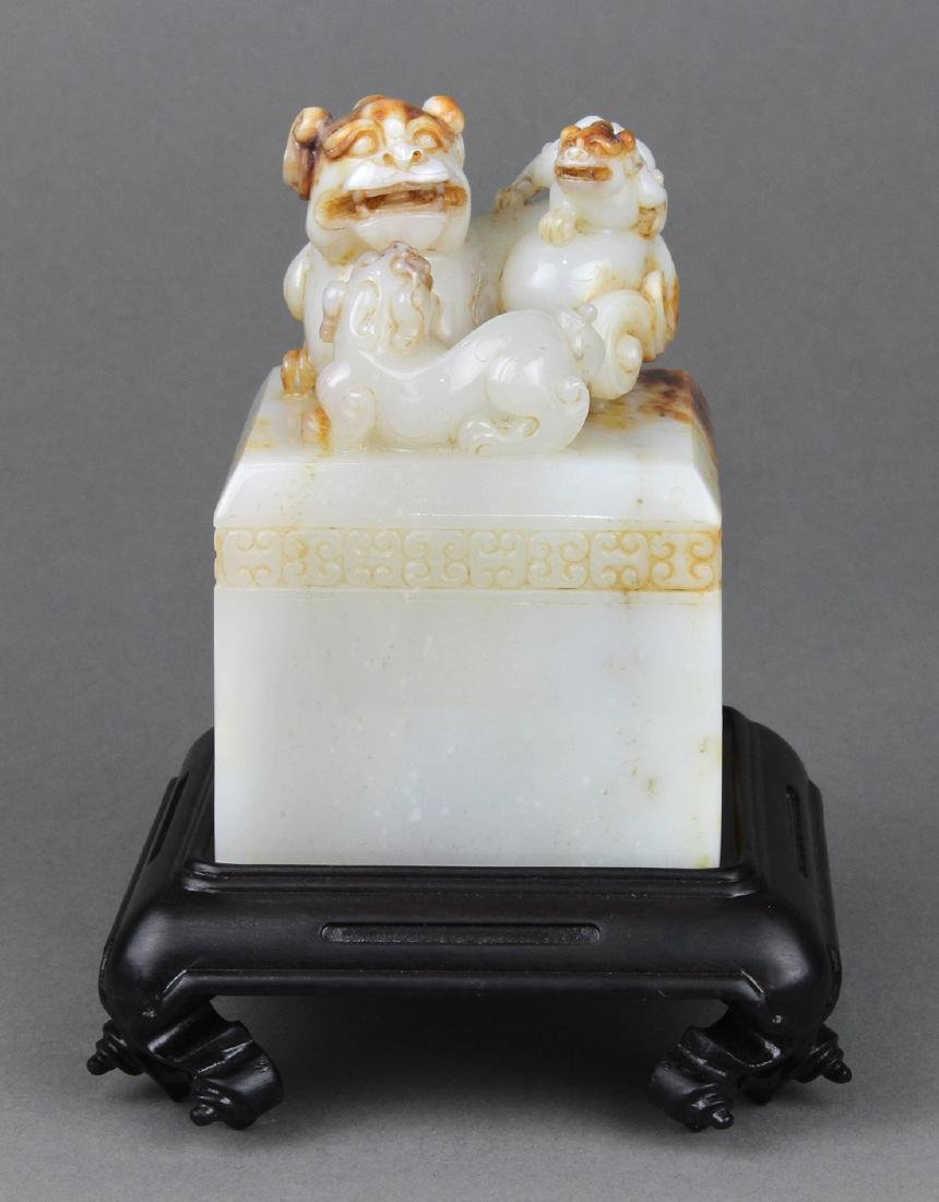 Chinese Jade Seal, Fu-lions