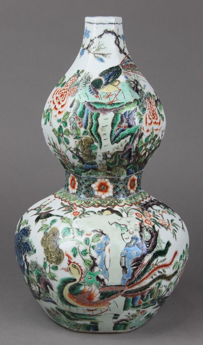 Chinese Famille Verte Double Gourd Vase