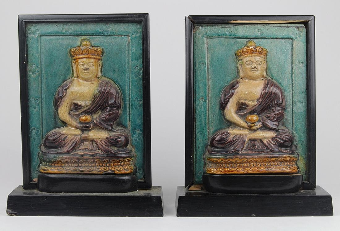 Chinese Ceramic Tile Mounted as Bookends