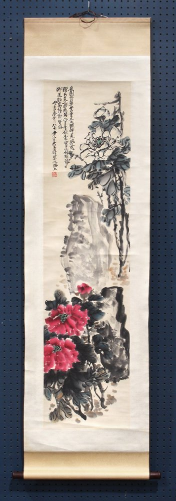 Chinese Scroll, Manner of Wu Changshuo, Peonies