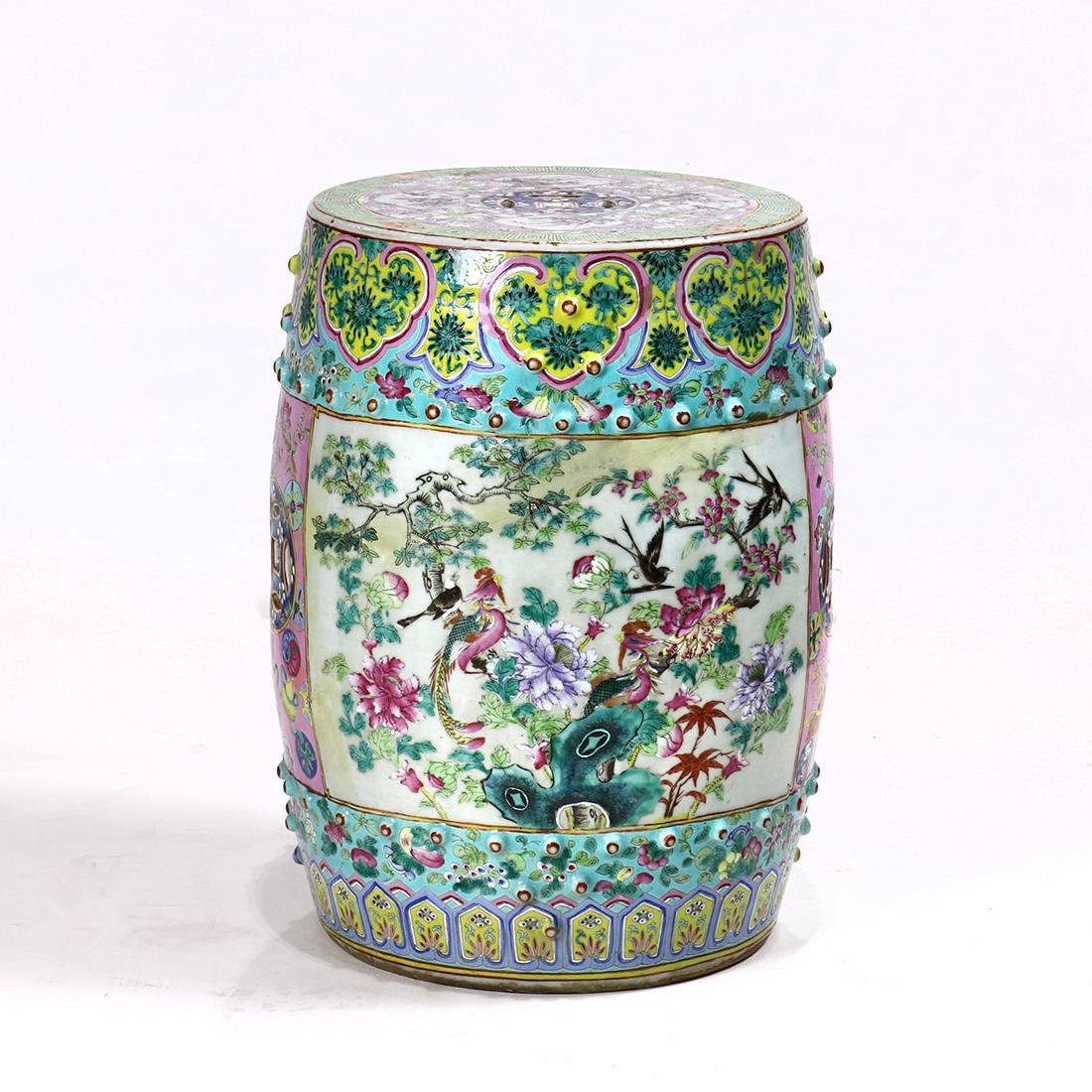 Chinese Porcelain Garden Stool, Birds