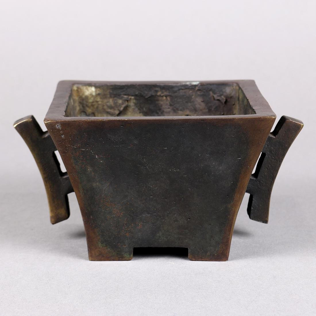 Chinese Square Bronze Censer