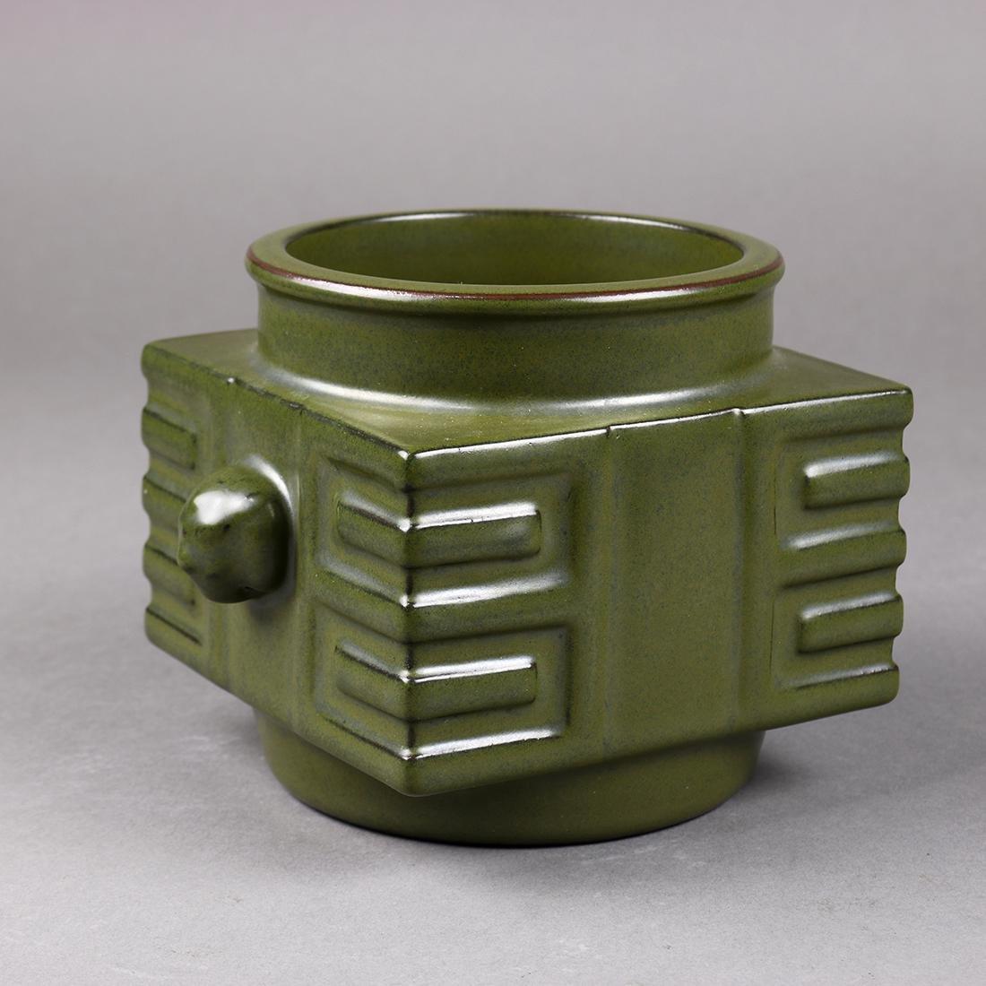 Chinese Tea-dust Glazed Cong Vase