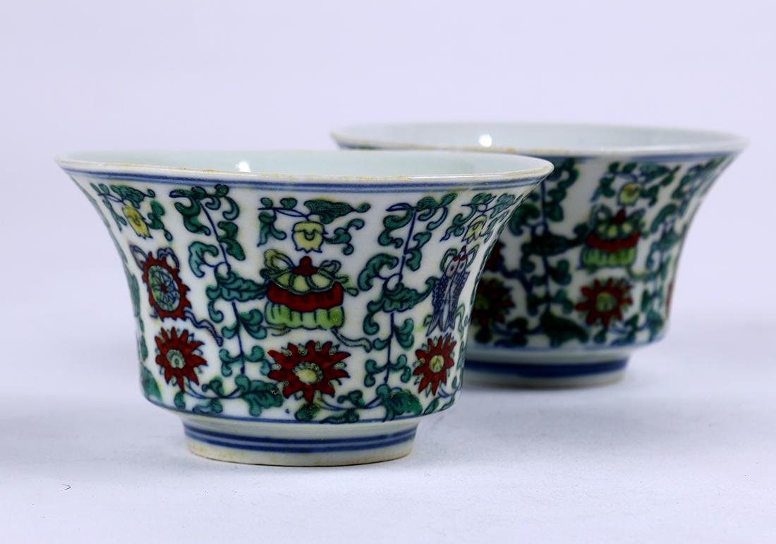Chinese Doucai Porcelain Cups