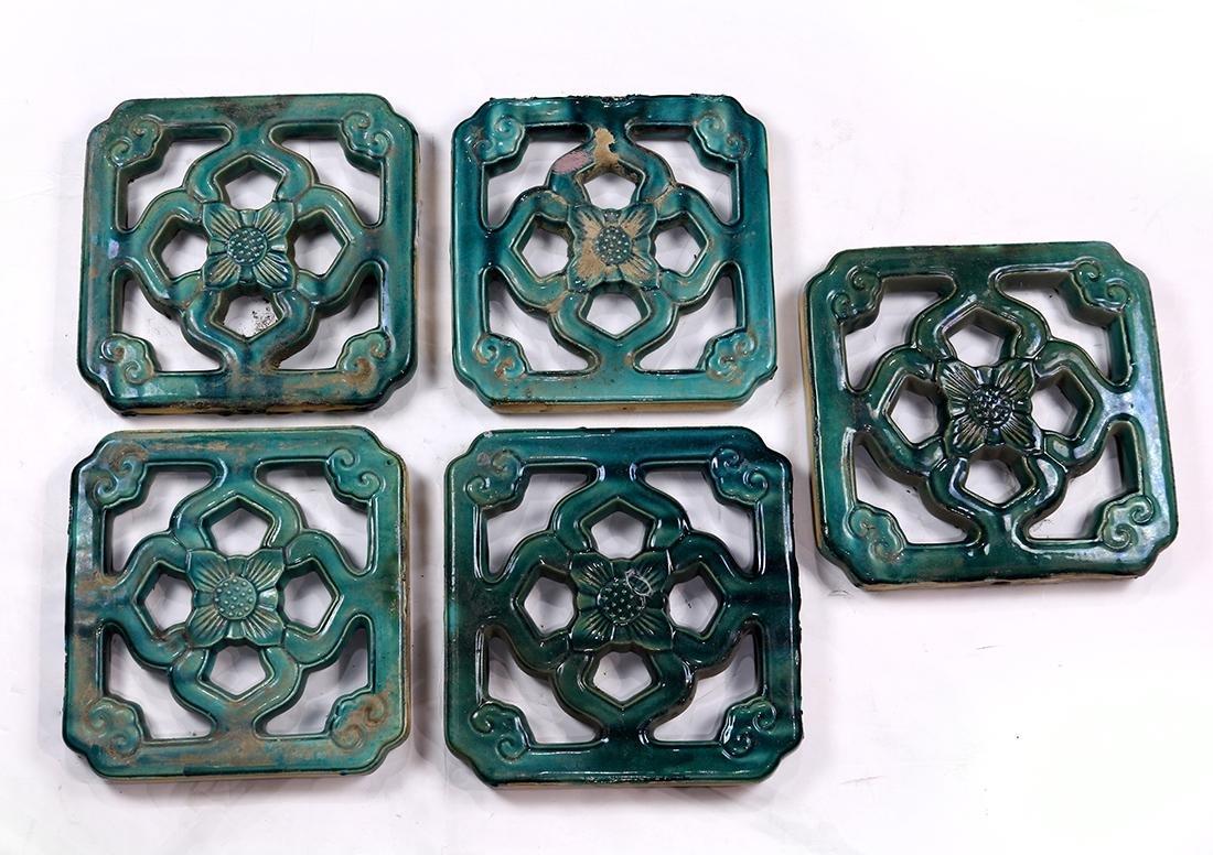 Chinese Green Ceramic Openwork Tiles