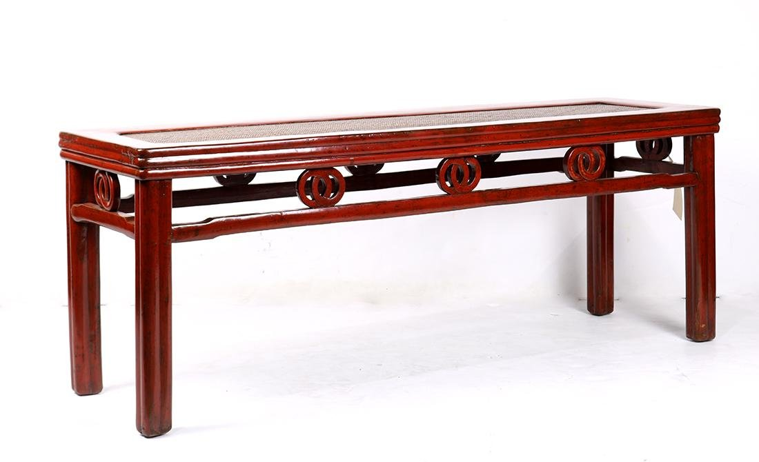 Chinese Red Lacquered Bench