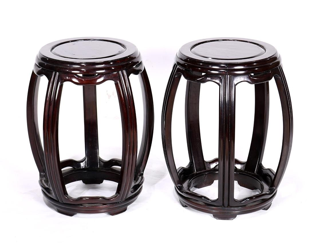 Two Chinese Wood Stools
