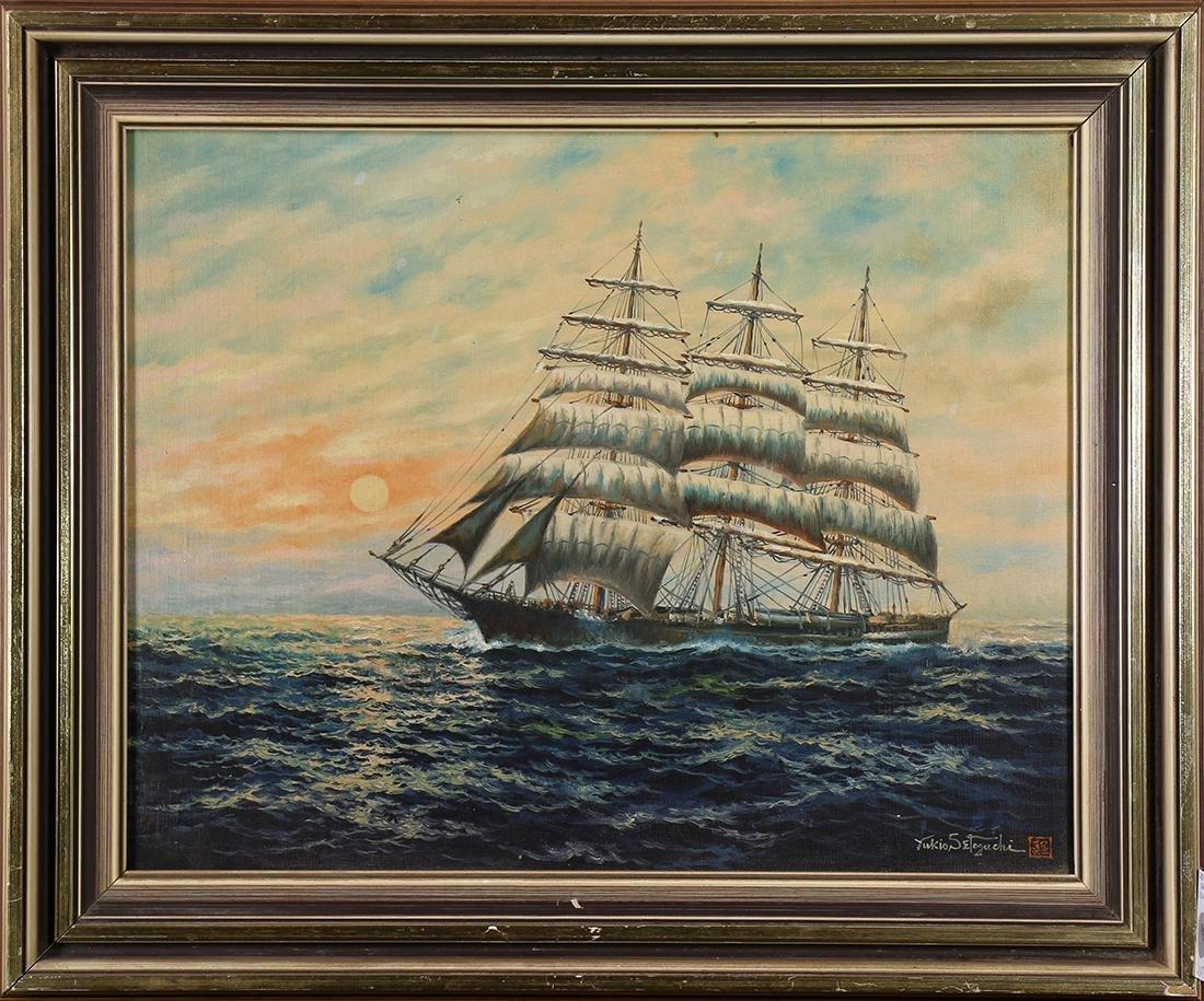 Japanese Oil on Canvas, Sailing Ship, Setoguchi
