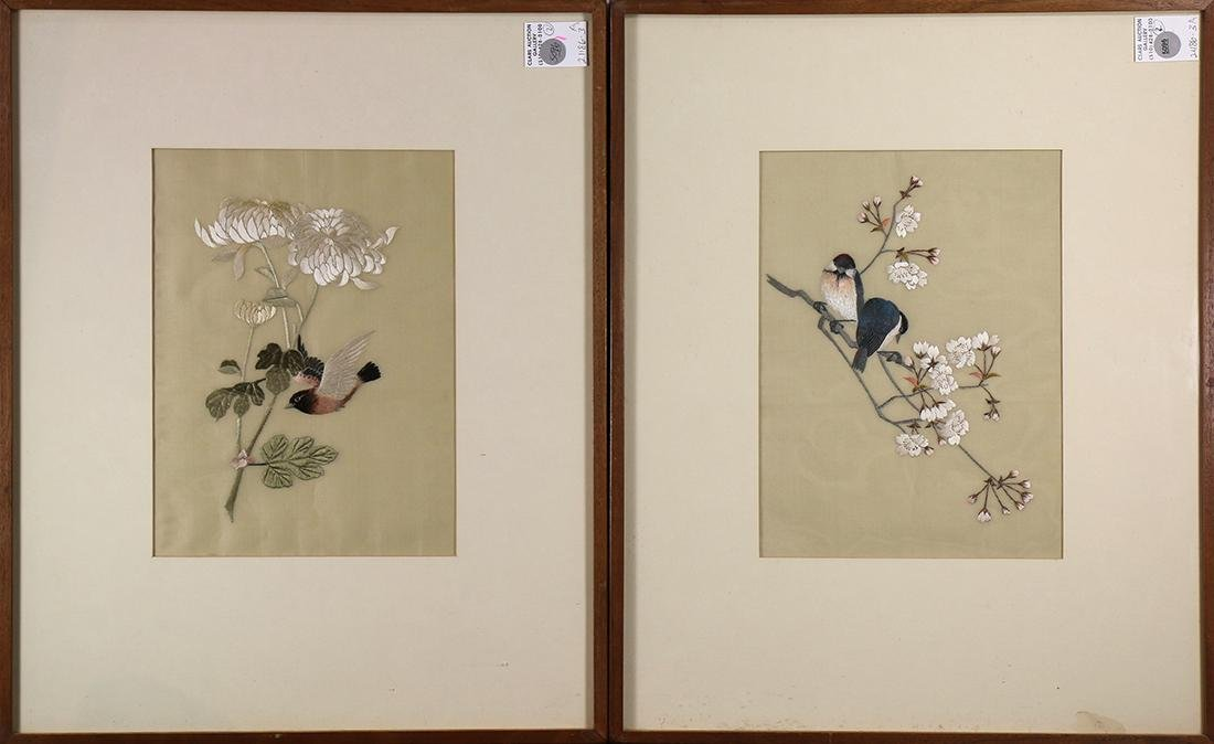 Japanese Silk Embroideries, Birds, Chrysanthemums,