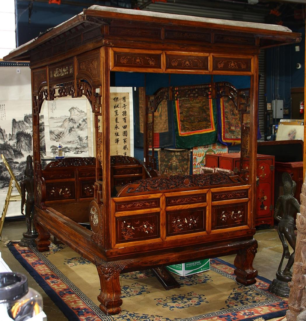 Chinese Wood Canopy Bed & Fine Old Chinese Rosewood Carved Canopy Bed