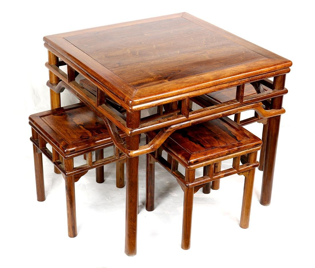 Chinese Square Table and Stools