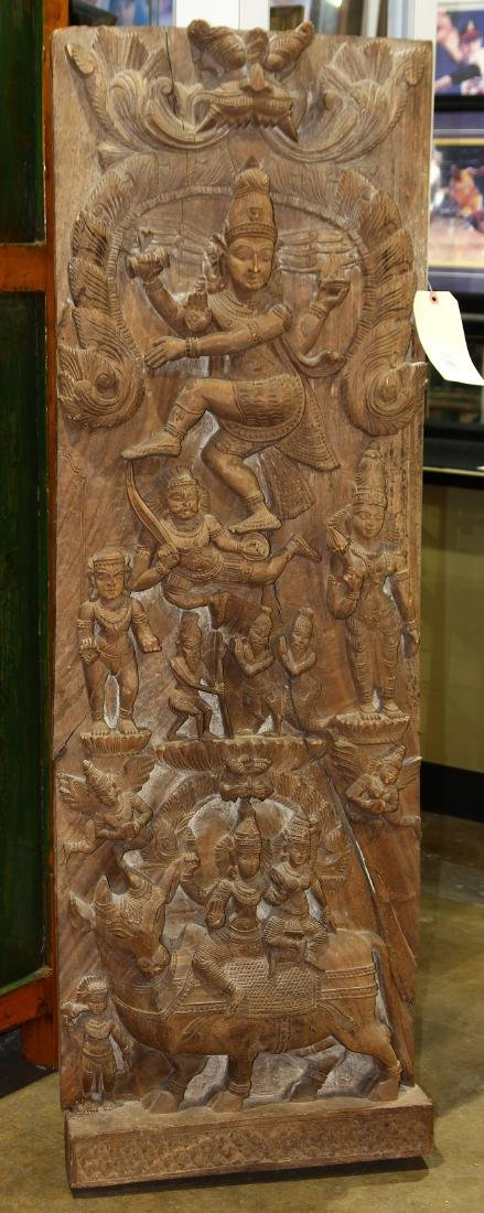 Indian Large Wood Panel, Nataraja