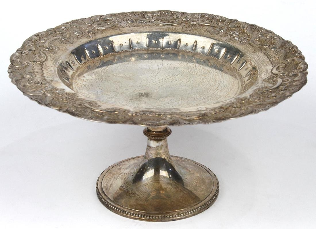 Rococo style silver plate compote, the repousse worked