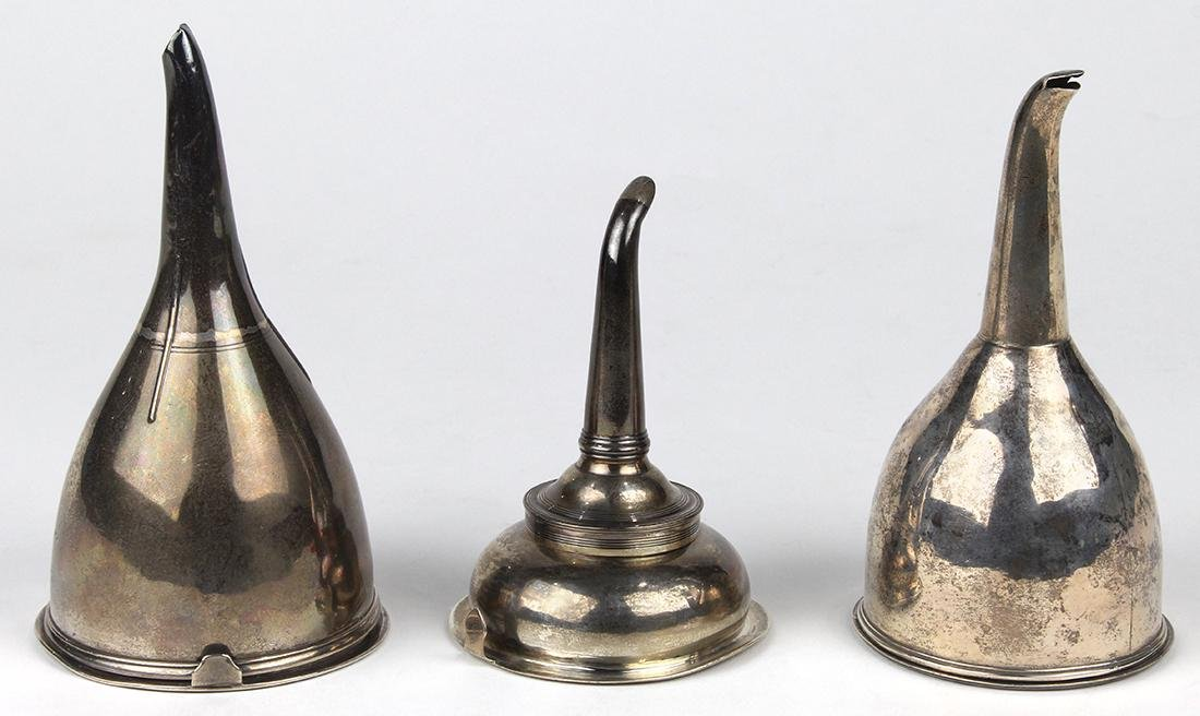 (lot of 3) Antique English sterling silver wine