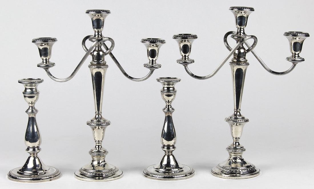 American sterling silver weighted candlestick group