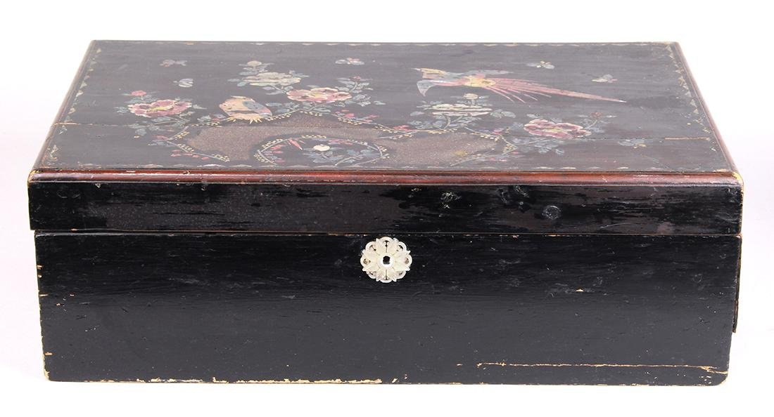 Victorian black lacquer lap desk, 19th century, having
