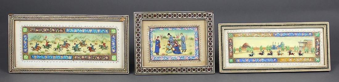 (lot of 3) Persian/Iranian miniature paintings on bone,