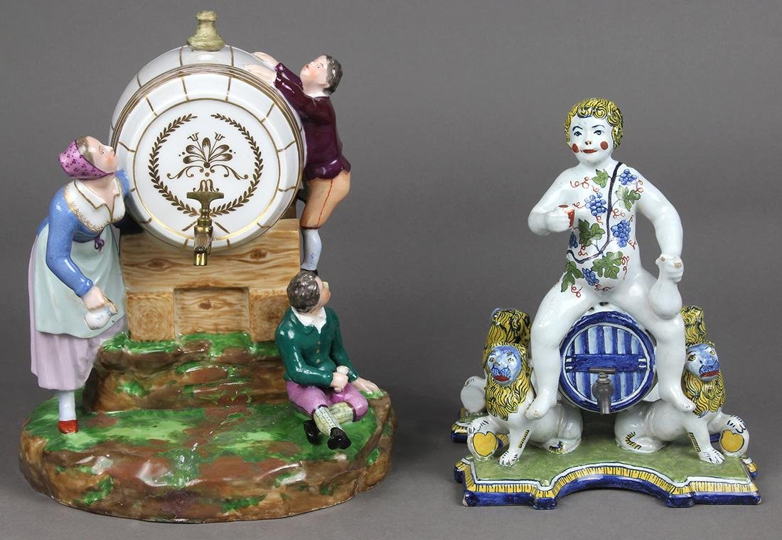 (lot of 2) Continental figural group, early 20th