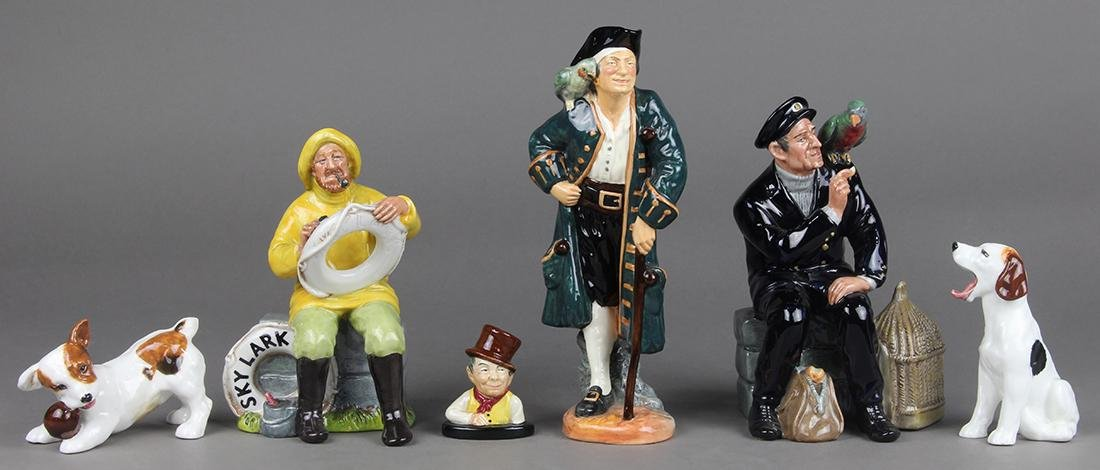 (lot of 6) Royal Doulton porcelain figural group,