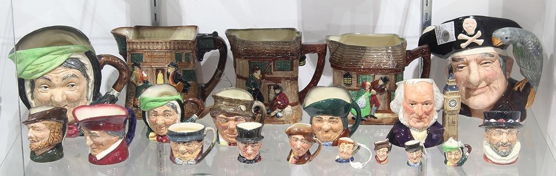 (lot of 19) Royal Doulton porcelain figural Toby Jug