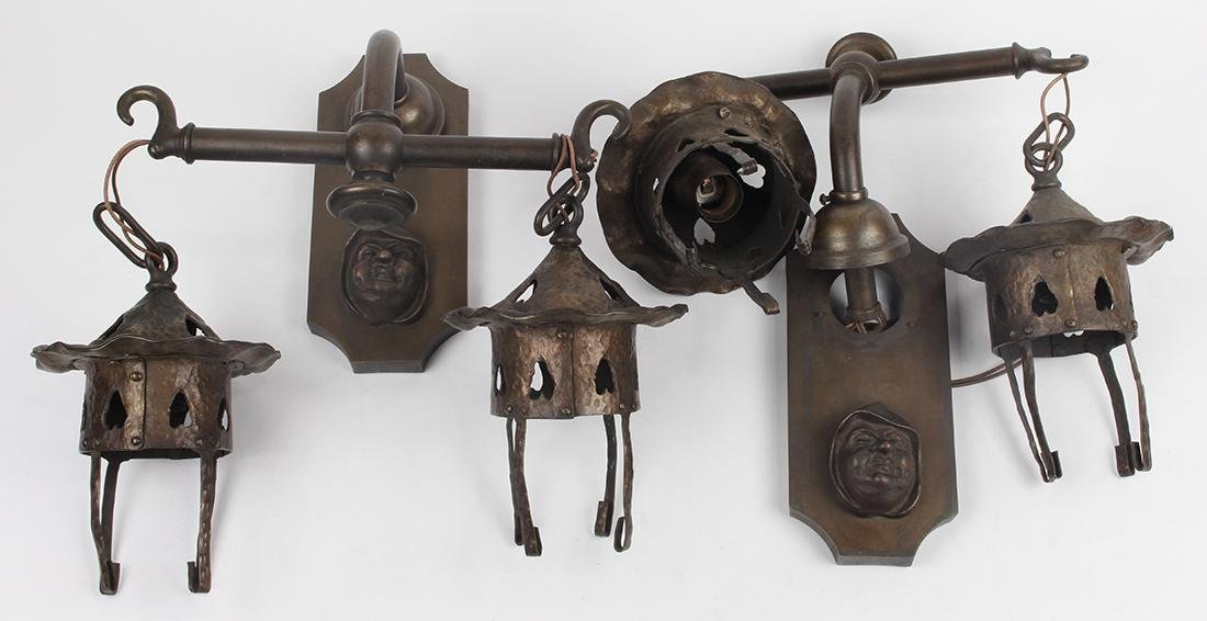 Pair of Arts and Crafts wall sconces, in the manner of