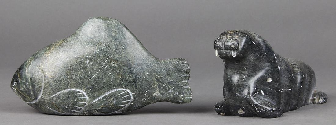 Inuit or Eskimo stone carved figural group, consisting