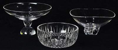 lot of 3 Crystal group consisting of two footed