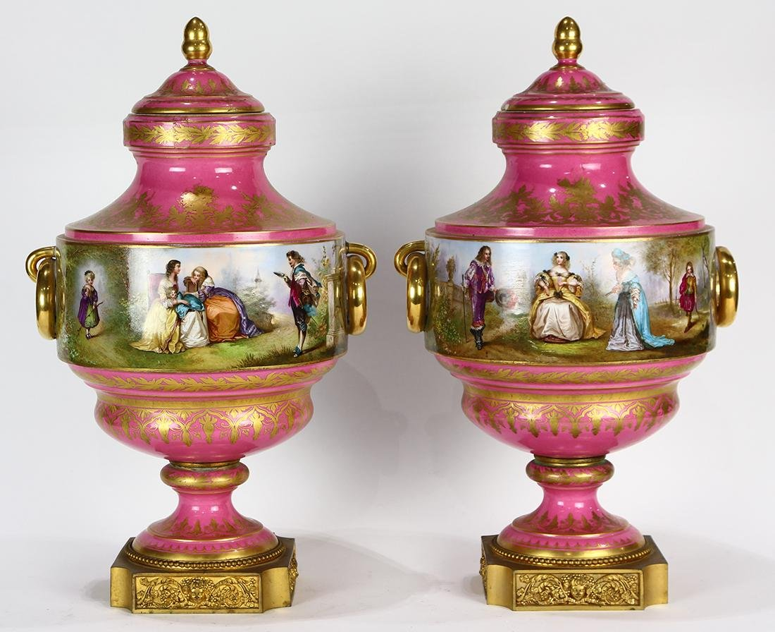 Pair of large French porcelain urns, circa 1900, each