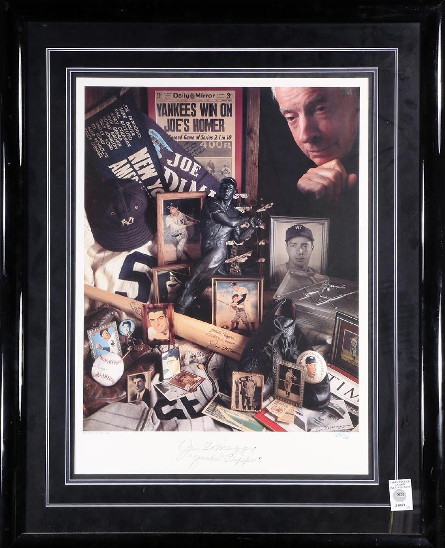 Framed memorabilia relating to Joe DiMaggio