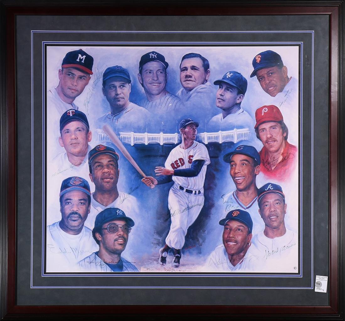 Framed baseball lithograph