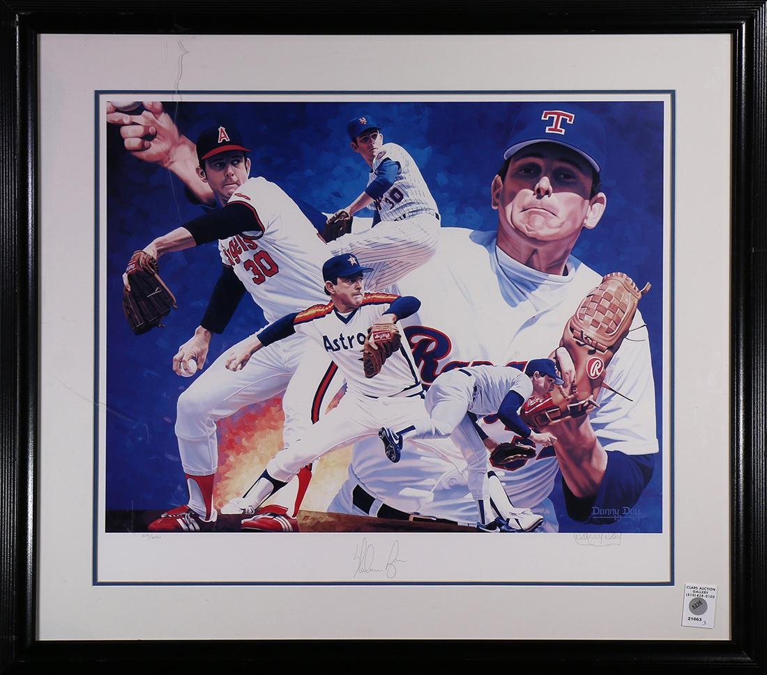 Framed baseball lithographic print relating to Nolan