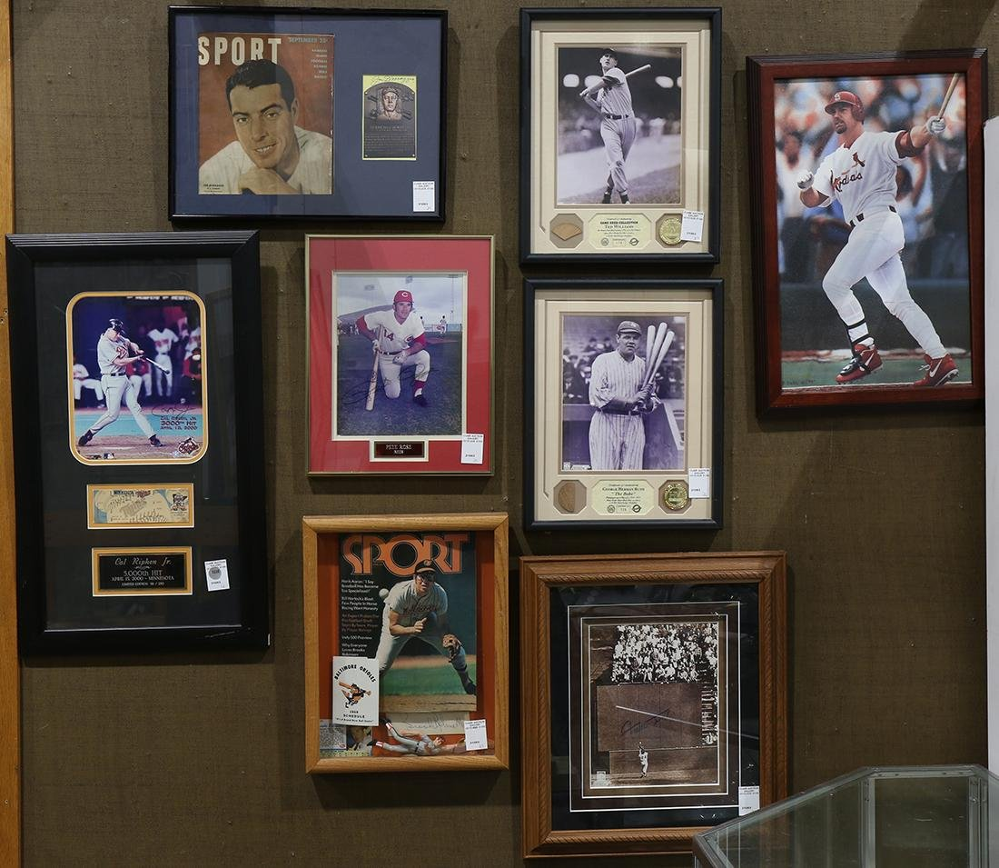 (lot of 8) Framed baseball memorabilia
