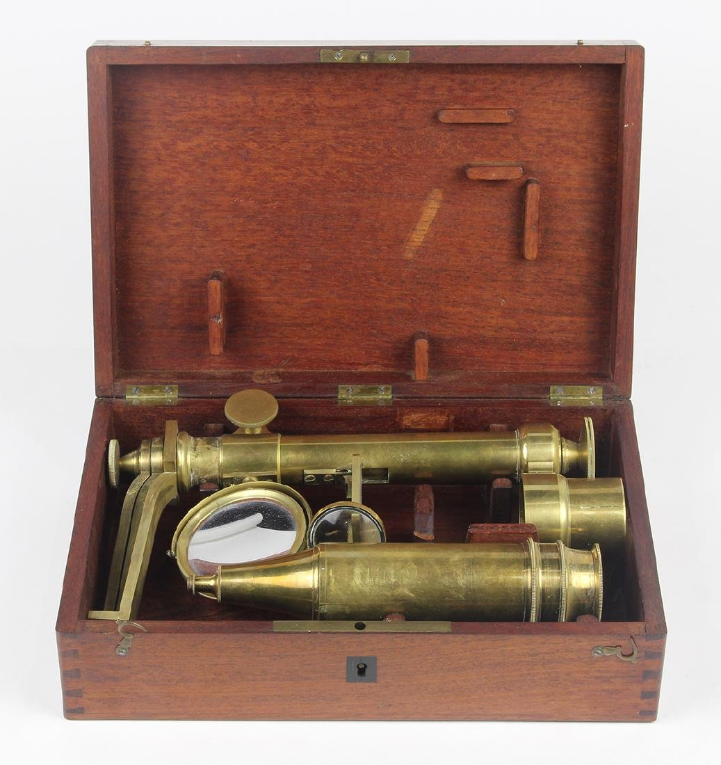 Antique brass microscope in fitted case