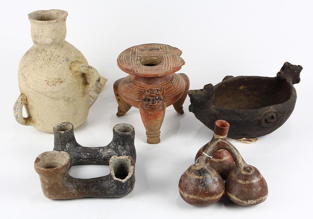 (lot of 8) Pre-Columbian ceremonial ceramic vessels