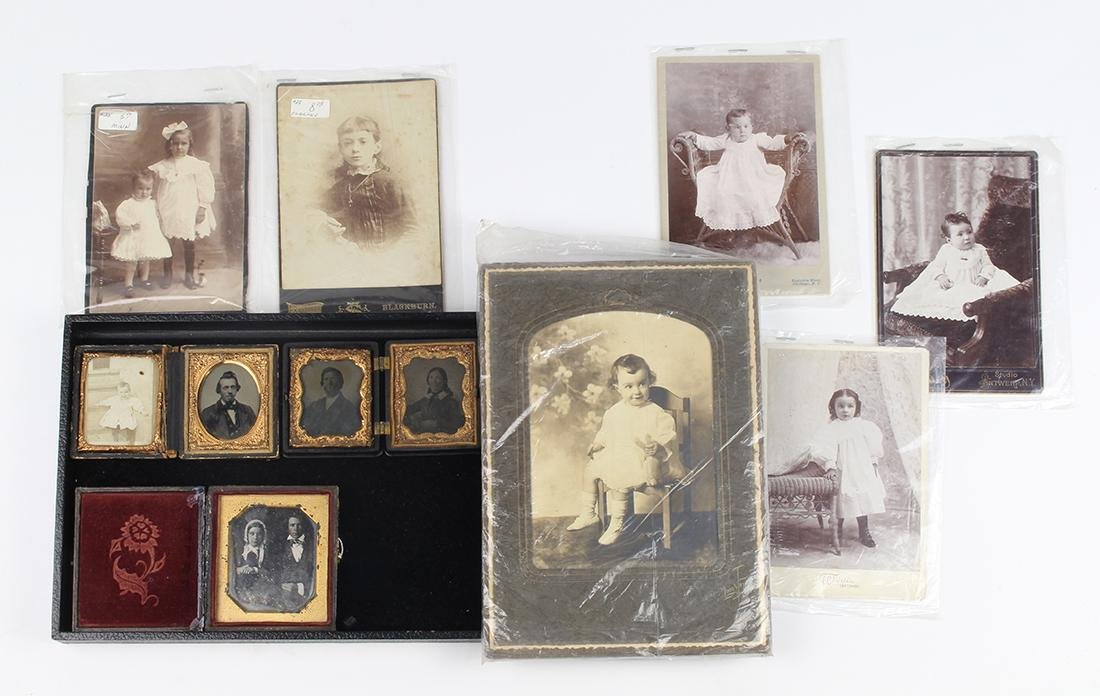 (lot of 9) Group of antique photographs including a