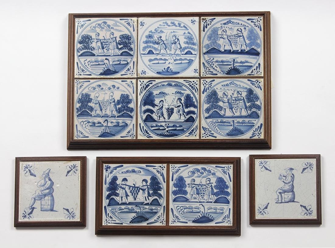 (lot of 4) Framed Delft blue and white tiles, each